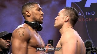 ICE COLD STARES! ANTHONY JOSHUA & JOSEPH PARKER FACE TO FACE ! FULL FACE OFF & WEIGH IN VIDEO!