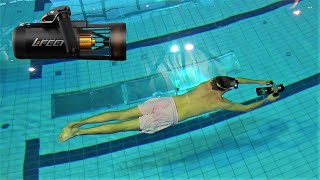 How far can you travel while holding your breath with a underwater scooter in the pool? - Lefeet S1