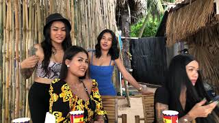 Pattaya Pretty Girls Give Out Masks To The Needy | Cute Pattaya Ladies Relaxing At Bamboo Beach