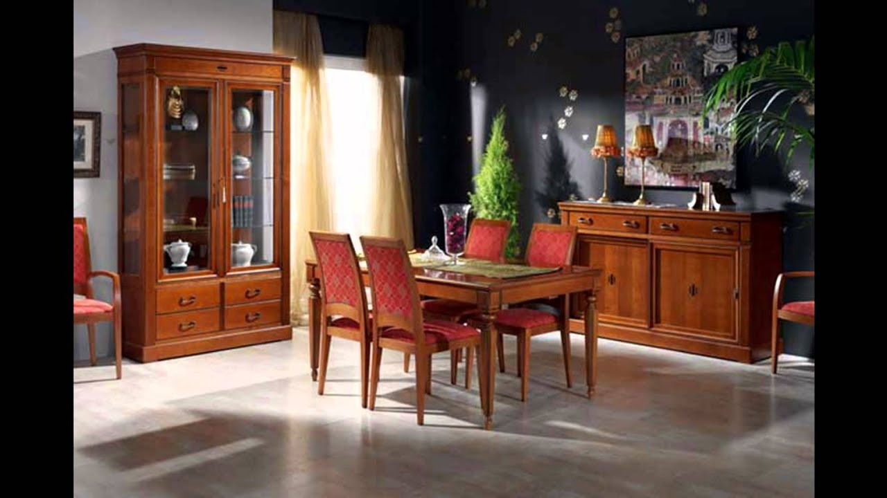 Muebles nogal y caoba comedores clasicos youtube for Decoracion comedor clasico