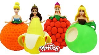 Куклы Принцессы Диснея НАРЯДЫ ФРУКТЫ И ЯГОДЫ из Плей До. Поделки для детей из пластилина Play Doh