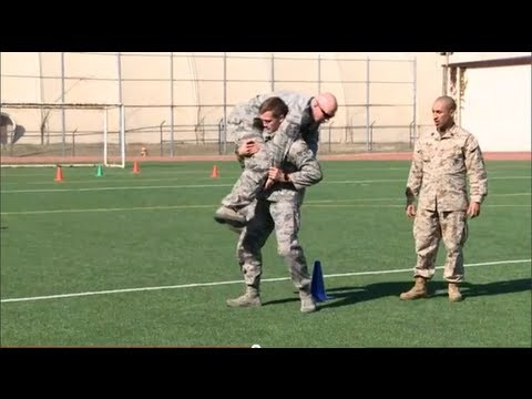 Airmen Try the Marine Corps Combat Fitness Test