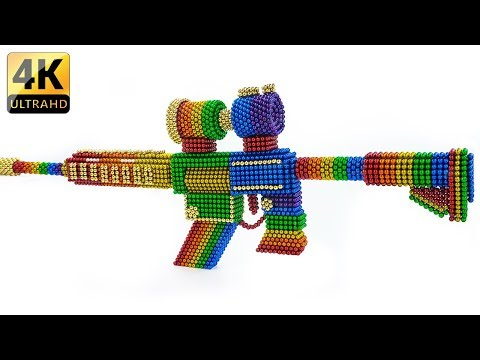 DIY - How To Make Rainbow PUBG M416 Gun With Magnetic Balls - ASMR 4K - Magnet Balls