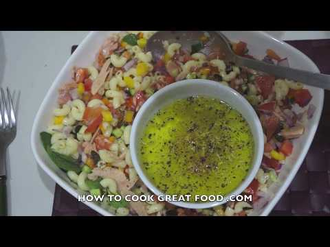 Tuna Pasta Salad Recipe - No Mayo Super Easy