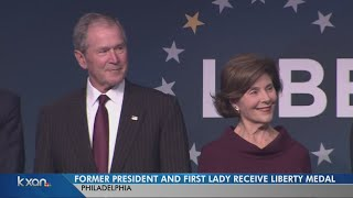 President George W. Bush and Laura Bush get liberty medal