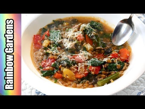4K Delicious Homemade Lentil Soup - Fresh with Herbs and Vegetables from the Square Foot Garden