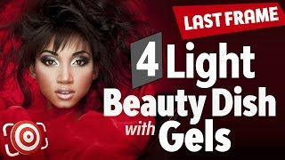 Beauty Portrait with a Beauty Dish, 4 lights & Red Gels - Studio Lighting Tutorial - The Last Frame