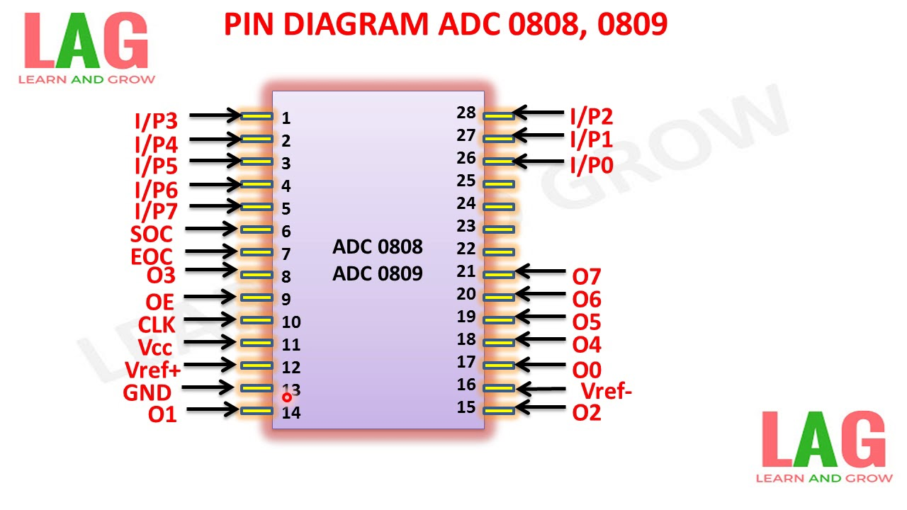 pin diagram adc 0808 0809 learn and grow [ 1280 x 720 Pixel ]