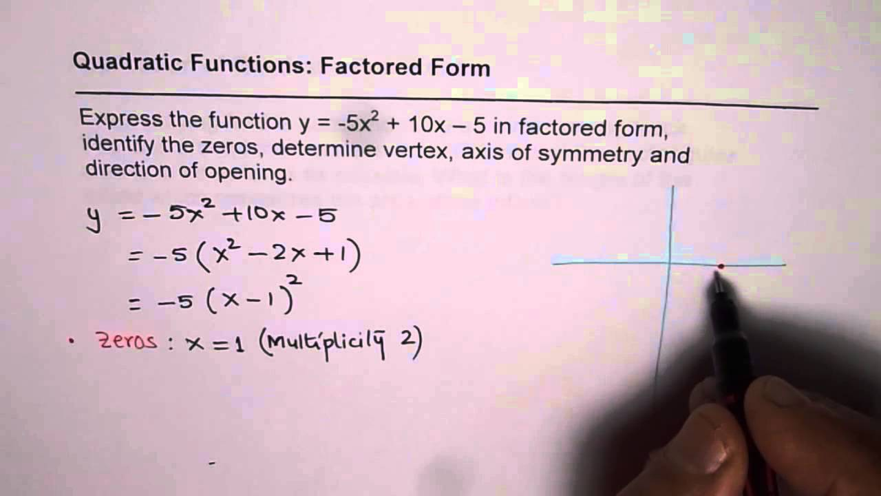 Factor form with one zero and characteristics of parabola youtube factor form with one zero and characteristics of parabola falaconquin