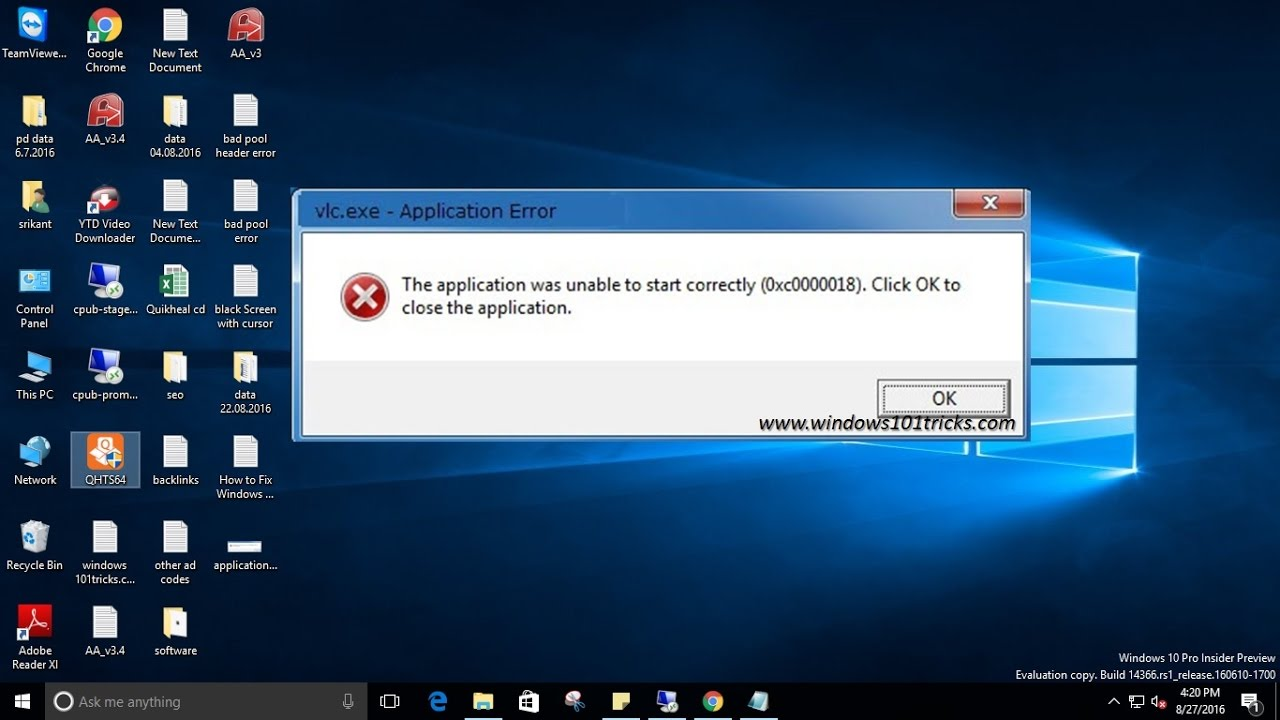 The application was unable to start correctly Error 0xc0000018 - YouTube