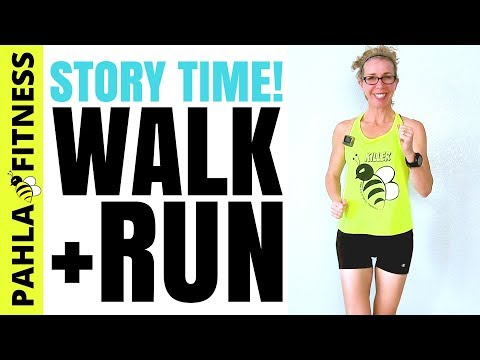 STORY TIME! 25 Minute (2 Miles) INDOOR WALK + RUN Workout | My First 5k Race