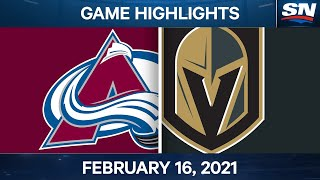 NHL Game Highlights   Avalanche vs. Golden Knights - Feb. 16, 2021