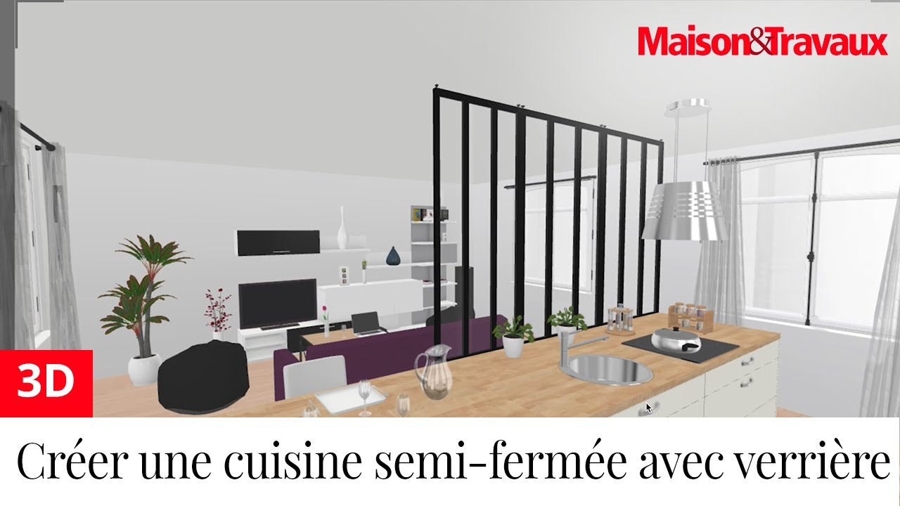 ma maison en 3d cr er une cuisine semi ferm e avec une verri re youtube. Black Bedroom Furniture Sets. Home Design Ideas