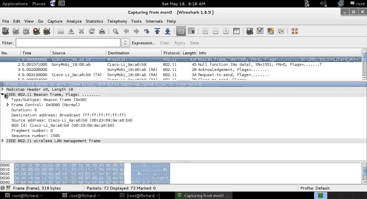 Wireshark on Wireless Sniffing