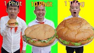 Hưng Troll | Thử Thách Hamburger 1 Phút Vs 10 Phút Vs 1 Tiếng - Hamburger Nào Ngon Hơn ?