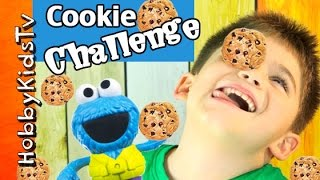 Cookie Monster Cookie FACE Challenge! HobbyKids + HobbyDad Take the Test by HobbyKidsTV