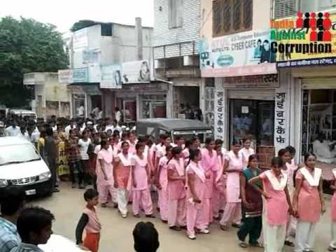 School College Students Maha Rally Kuchaman City India Against Corruption