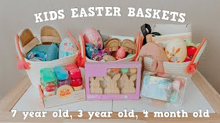FILL EASTER BASKETS WITH ME + DECORATE WITH ME 2021   BABY, TODDLER, & 7 YEAR OLD BASKETS