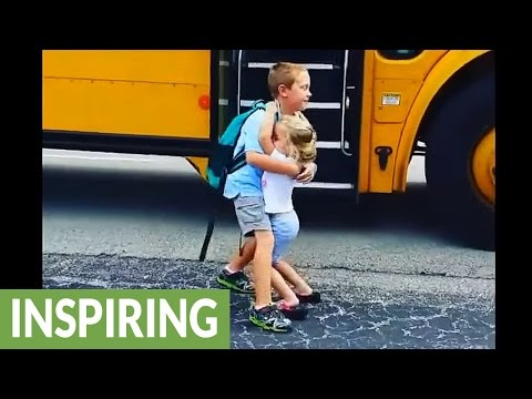 Little girl greets big brother with hugs every day after school