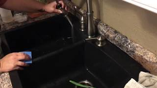 In this video, i will show you, the best way, have found, to clean, and keep glossy black shine, of a composite sink. only three, common, household, it...