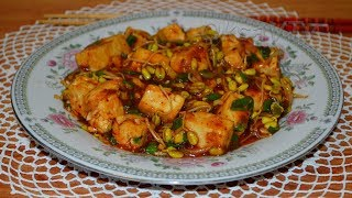 Соевые ростки с тофу в кисло-сладком соусе(豆芽炒豆腐, Dòuyá chǎo dòufu). Китайская кухня.