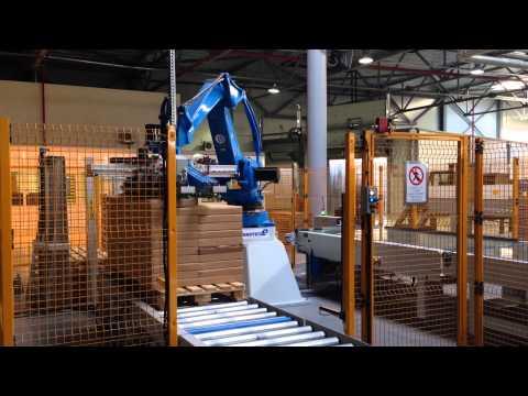 Автоматизированная линия для упаковки корпусной мебели.