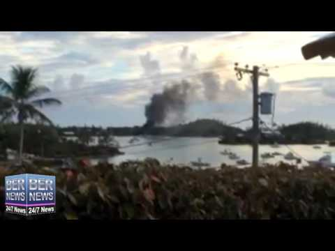 Smoke Pours Into Sky From Boat Fire In Sandys, August 21 2016