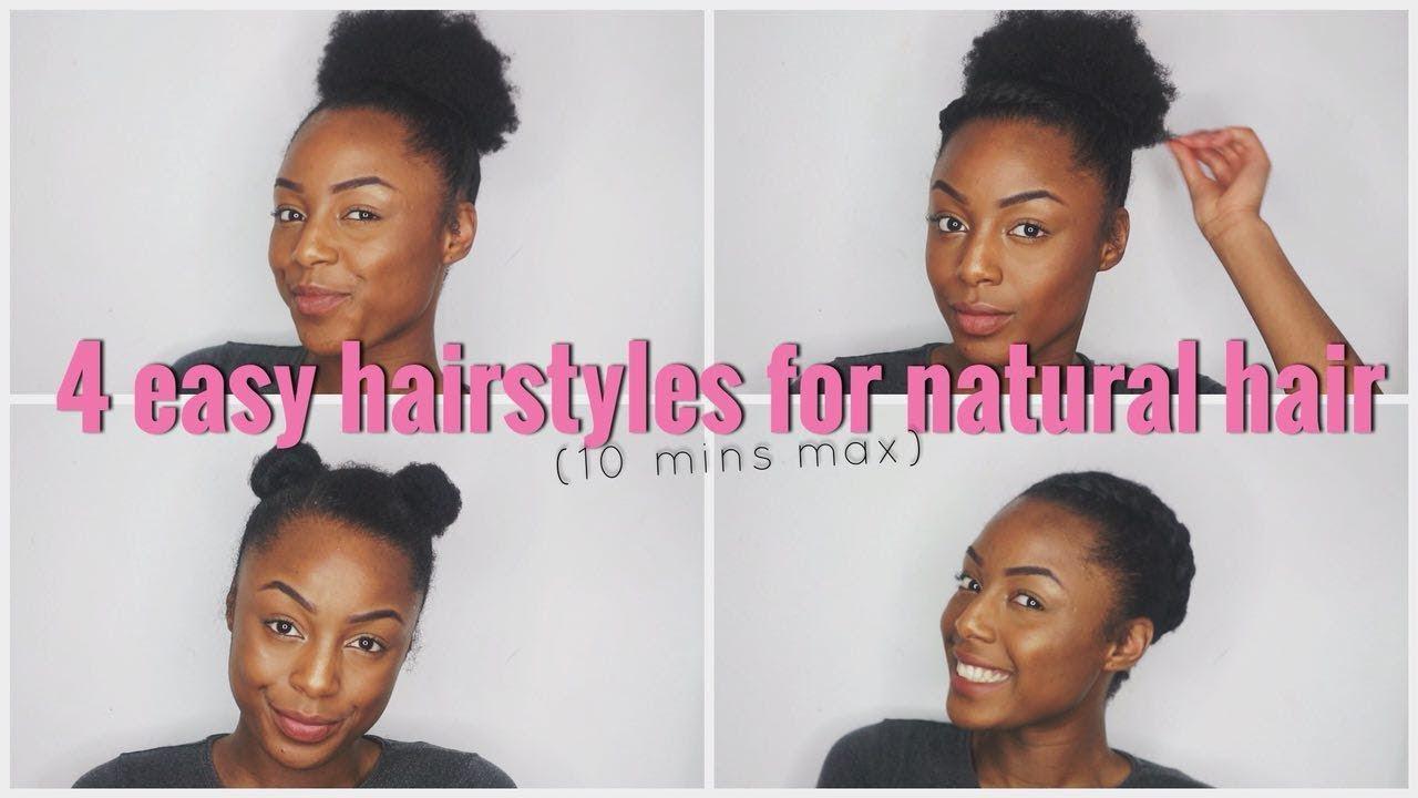 4 Easy Hairstyles On Short Awkward Length Natural 4b 4c Hair Under 10 Mins Youtube