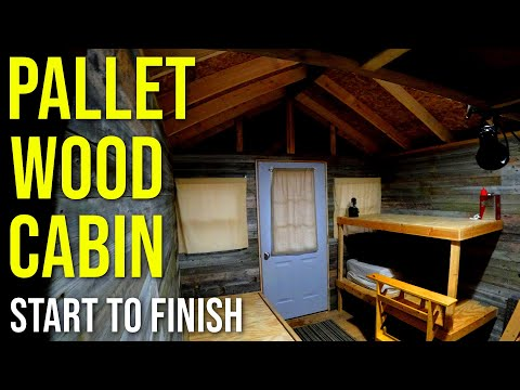Hunting Cabin Built With Free Pallet Wood Pt.10 - Mini Cabin, Pallet Building, Pallet Shed Complete