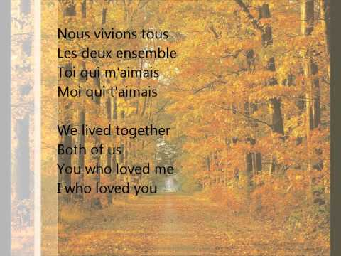 Andrea Bocelli - Les feuilles mortes with French/English lyrics