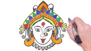 Easy Durga maata face Drawing    Navaratri Special    How to Draw DEVI DURGA