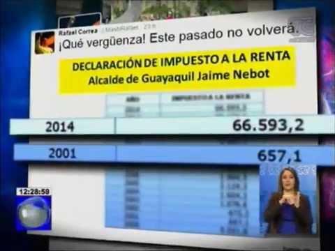 Presidente Rafael Correa publicó en Twitter declaración de impuesto del Alcalde Nebot