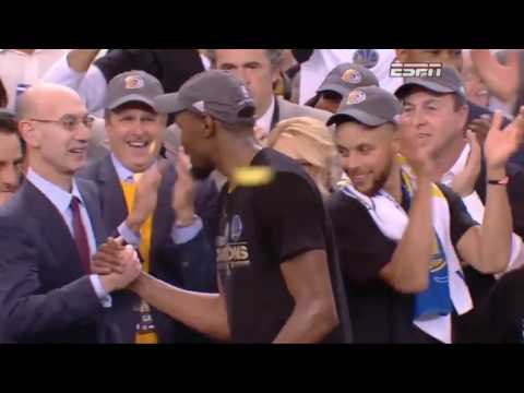 Joe Lacob salutes KD during NBA Finals trophy presentation: