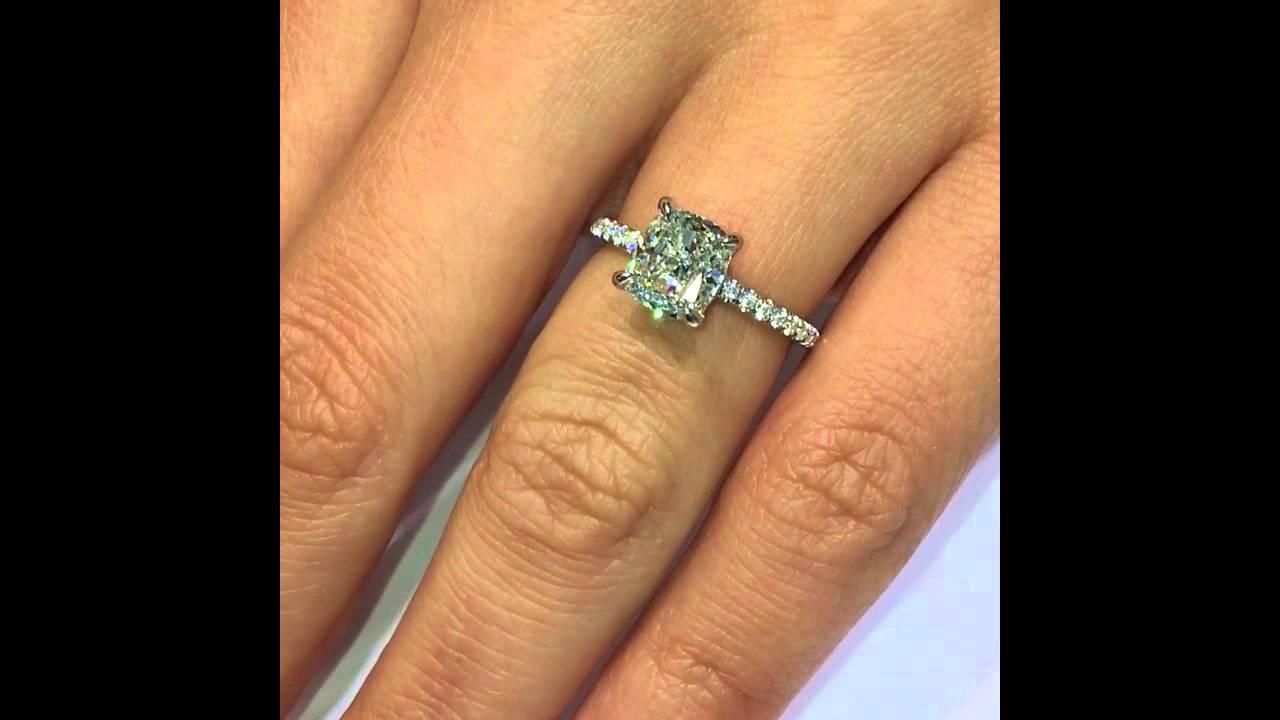 Carat cushion cut diamond engagement ring thin band youtube - 1 75 Ct Cushion Diamond Custom Engagement Ring In Pave Setting