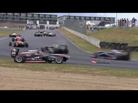 Stroll Crashes into Eastwood and Leitch Crash @ 2015 Toyota Racing Series Hampton Downs Race 1