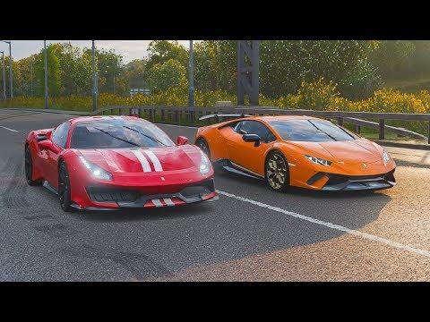 FH4 Drag Race | Lamborghini Huracan Performante Vs Ferrari 488 Pista!!!