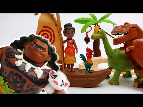 Moana & Maui The Secret of Mystic Island~! Protect Hei Hei and Pua