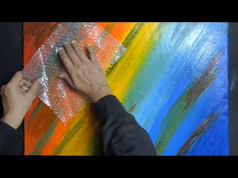 Simple and Easy Abstract Painting Demonstration on Acrylics Using Masking Tape   Beginners Tutorial