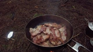 Chocolate bacon campfire desserts with cowboy coffee - backpacking food recipe