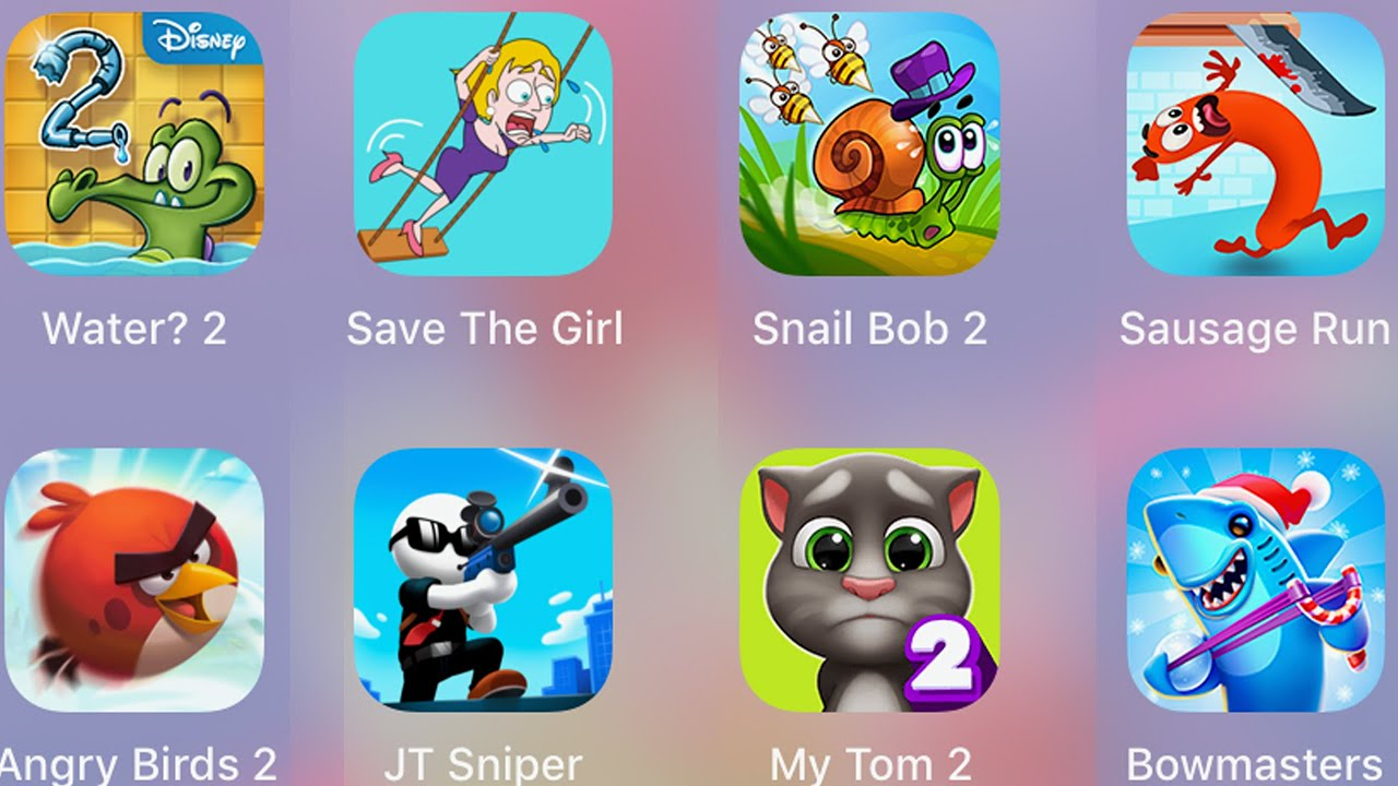 Save The Girl,Snail Bob 2,Sausage Run,Bowmasters,My Tom 2,JT Sniper,Angry Birds 2,Where My Water 2