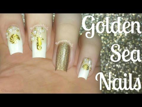 NAIL TUTORIAL: Gold Nautical Sea Nails | 3d Nail Art Using Decals