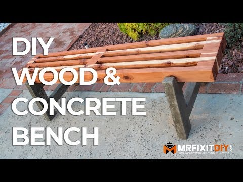 DIY Wood & Concrete Bench | How to Build | Free Plans
