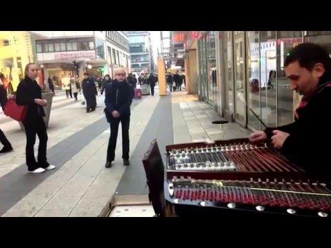 Cimbalom street performance, Stockholm