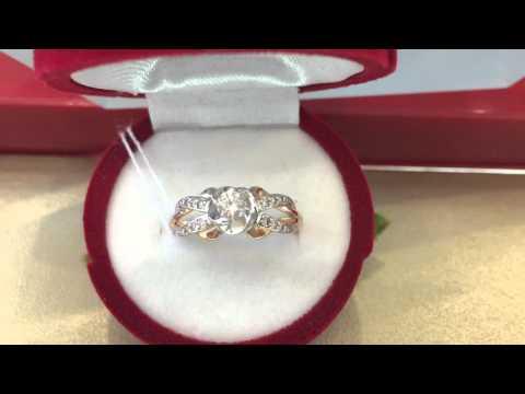Серьги-кольца с фианитами из золота