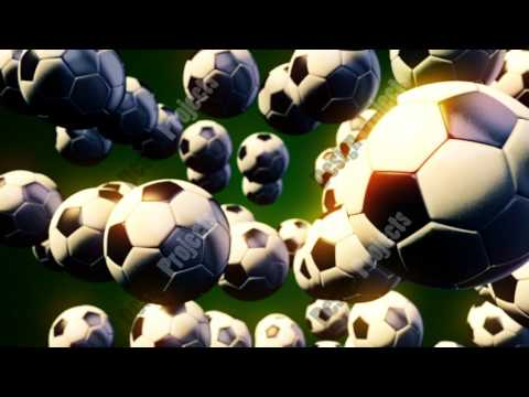Abstract CGI motion graphics with flying soccer balls