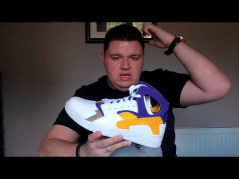 1adb92b49d7c Nike Air Flight Huarache 705005-101 Lakers Kobe Bryant PE On Feet Sneaker  Review Tinker Hatfield Eri