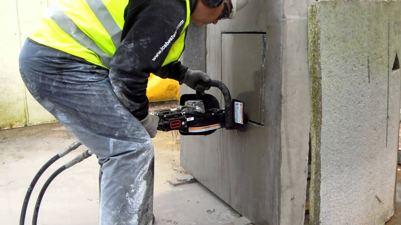 Ics 890 Diamond Chainsaw Horizontal Cutting Using Wall