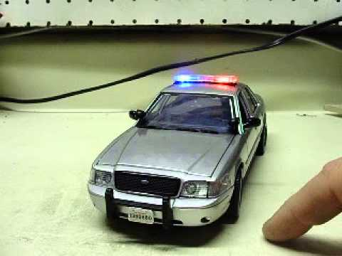 Custom 1:24 scale silver FORD CROWN VIC unmarked CT STATE POLICE w/ working  lights