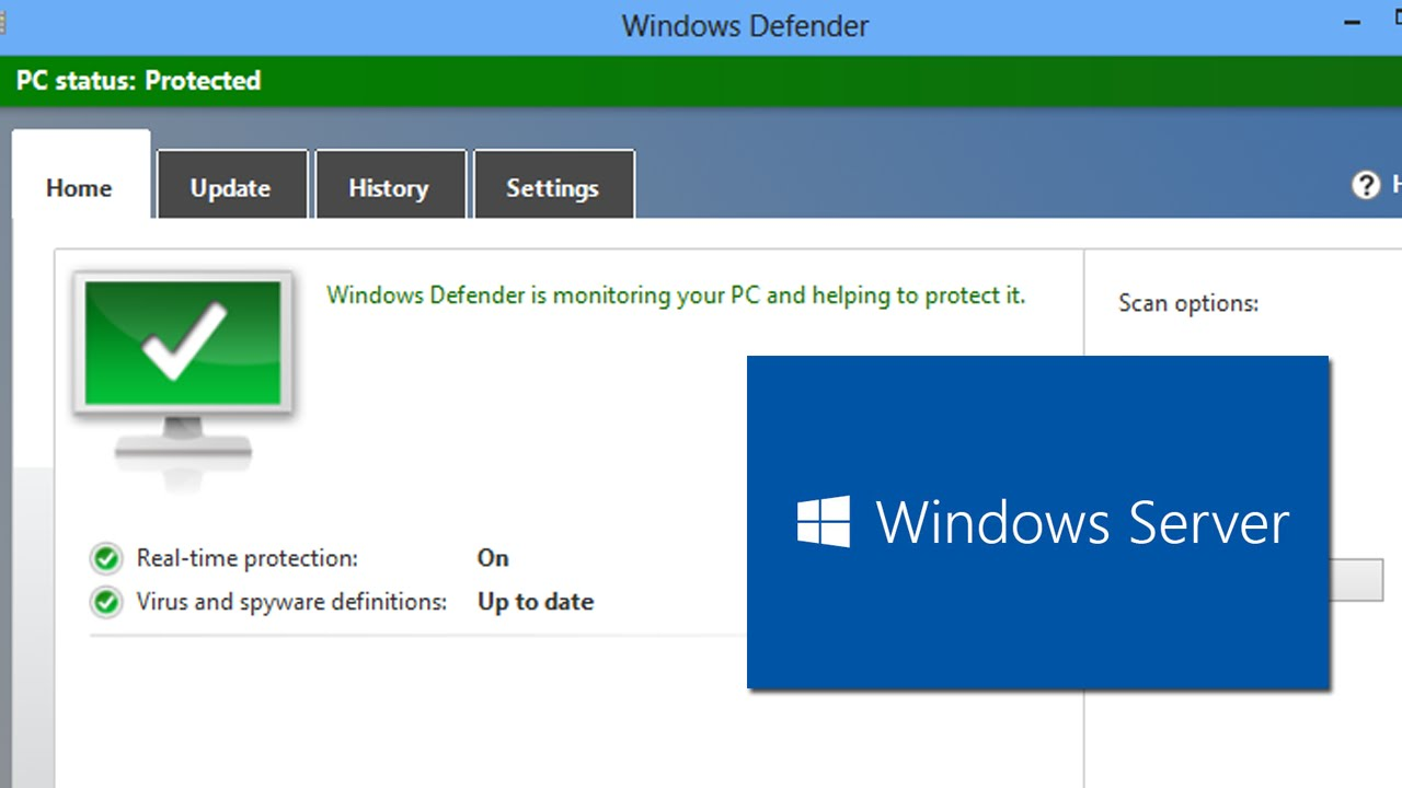 Windows Defender GUI for Windows Server 10 Technical Preview