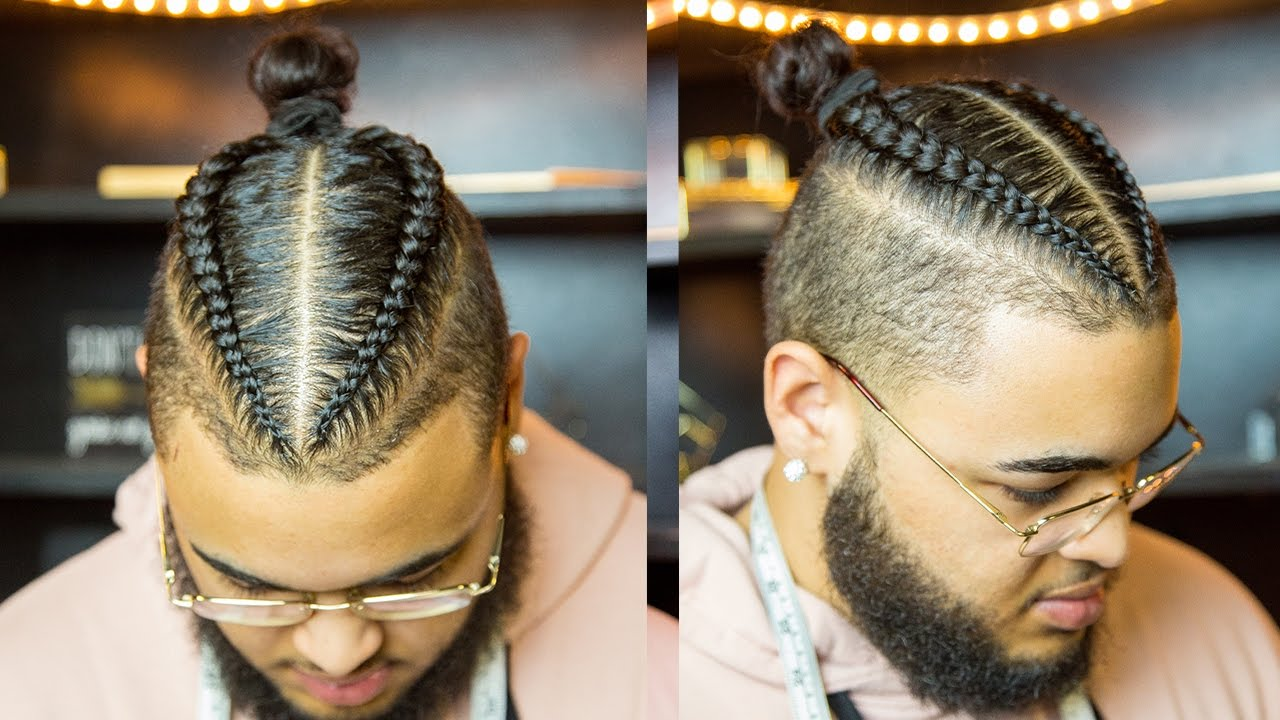 2 BRAIDS MAN BUN HAIRSTYLE FOR MIXED CURLY HAIR (TUTORIAL ...